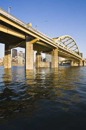 Bridge in Downtown Pittsburgh stock photo, Bridge in Downtown Pittsburgh, Pennsylvania. by Henryk Sadura