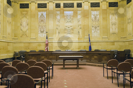 Court Room  stock photo, Court Room in State Capitol Building - Madison, Wisconsin. by Henryk Sadura