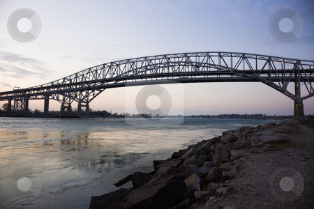 Blue Water Bridge stock photo, Blue Water Bridge - border between USA and Canada. Port Huron, Michigan. by Henryk Sadura