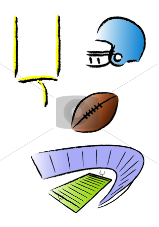 Football Icons stock vector clipart, Assorted well-known football icons by Jamie Slavy