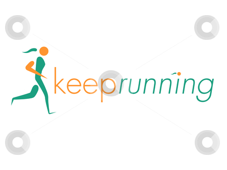 Keep Running Design stock vector clipart, Green and Orange Keep Running Woman Design by Chris Green