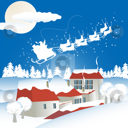 Christmas background with santa stock photo, Christmas background with santa flying over a village with gifts by Richard Laschon