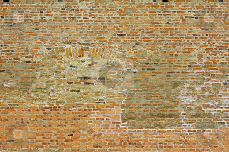 Brick wall stock photo, Brick wall of an ancient brick castle, with blind windows by Peter Mikuska