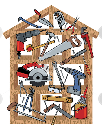 House Construction stock vector clipart, Vector illustration of home construction tools in a wood frame. by Lisa Fischer