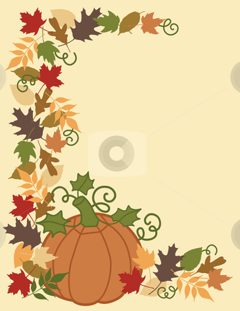 Pumpkin and Leaves Border stock vector clipart, Vector illustration of a pumpkin and Autumn leaves with area for text. by Lisa Fischer