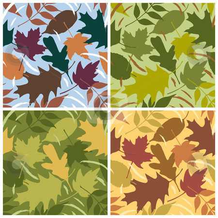 Four Seasons Leaf Pattern stock vector clipart, Seamless vector leaves pattern in four seasonal colorways. Tiles repeat 6 inches. by Lisa Fischer