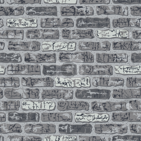 Grungy Brick Pattern in Grays stock vector clipart, Vector seamless gray brick pattern. 12-inch repeat. by Lisa Fischer