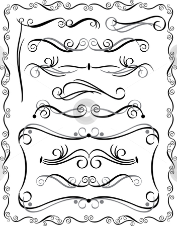Decorative Borders Set #3 stock vector clipart, Vector collection #3 of decorative borders and dividers. by Lisa Fischer
