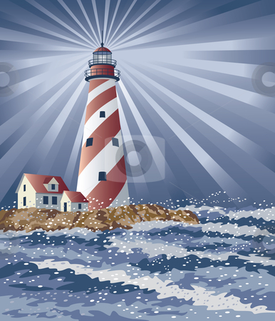 Candy Cane Lighthouse stock vector clipart, Vector illustration of a red and white lighthouse illuminating the night. by Lisa Fischer