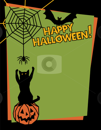 Happy Halloween stock vector clipart, Vector background of a mischievous cat sitting on a pumpkin and swatting at a spider while a bat looks on. Type style is my own design. by Lisa Fischer