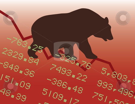 Bear Market in the Red stock vector clipart, Conceptual illustration of a bear market downtrend. by Lisa Fischer