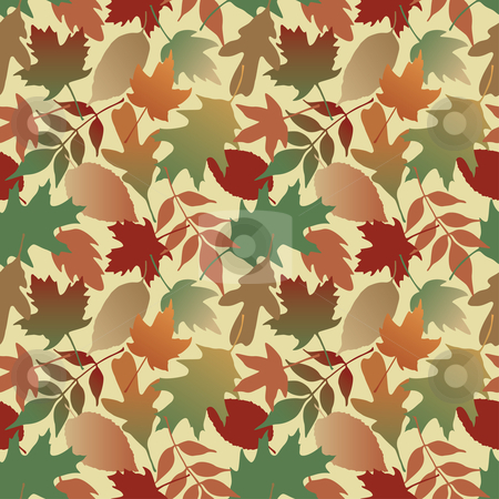 Autumn Leaves Gradient_Yellow stock vector clipart, Seamless pattern of Autumn leaves. This is a 4-tile repeat of the pattern at 12.625 inches square. by Lisa Fischer