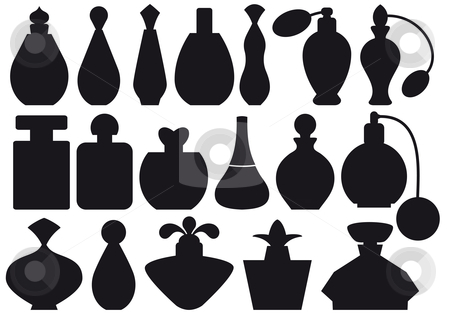 Perfume bottles, vector stock vector clipart, Set of perfume bottle silhouettes, vector by Beata Kraus