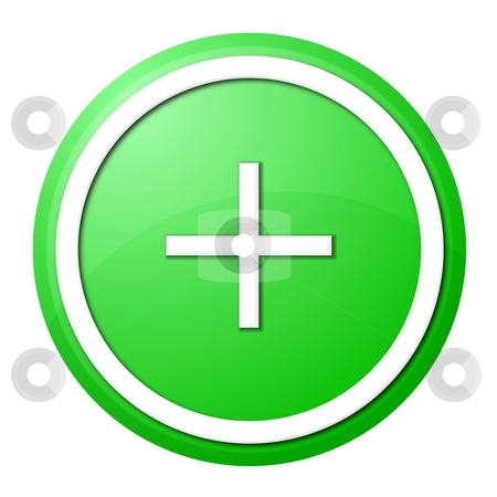 Green plus button stock photo, Round plus button with white ring for web design and presentation by Henrik Lehnerer