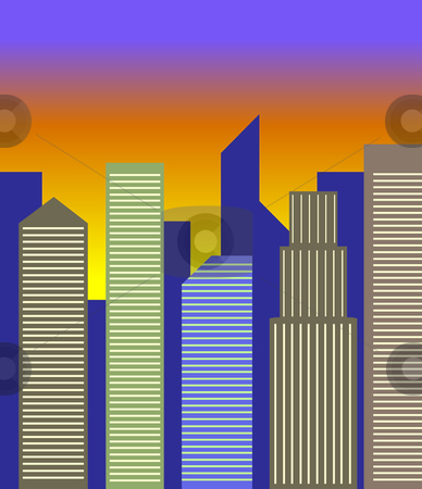Cityscape stock vector clipart, A generic city skyline at dusk. by Jamie Slavy