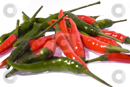 Hot chili peppers  stock photo, Red and green hot chili peppers by Keng po Leung