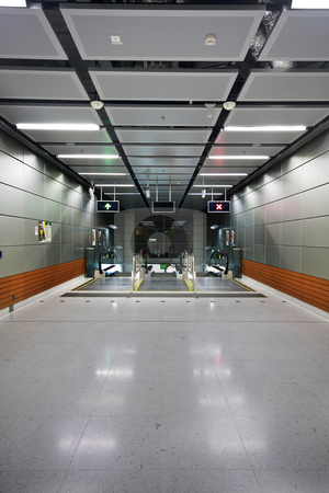 Modern building indoor stock photo, Modern building indoor and escalator in hong kong by Keng po Leung