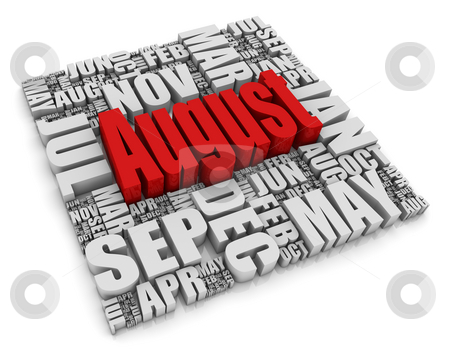 August stock photo, 3D text representing the twelve months of the year. Part of a series of calendar concepts. by Victor Correia