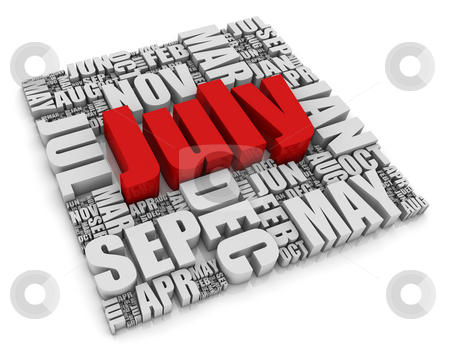 July stock photo, 3D text representing the twelve months of the year. Part of a series of calendar concepts. by Victor Correia