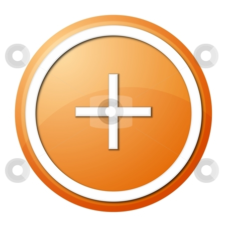 Orange plus button stock photo, Round plus button with white ring for web design and presentation by Henrik Lehnerer