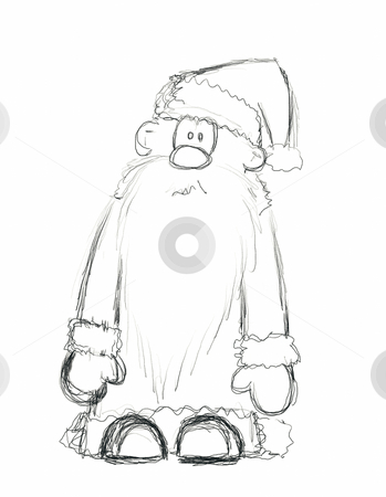 Santa claus stock photo, Hand drawn santa claus on white background - illustration by J?