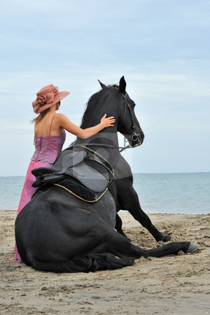 Sitting horse on the beach stock photo, Sitting black stallion on the beach with young woman by Bonzami Emmanuelle