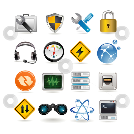 Network icons stock vector clipart, Network icons set by Ika