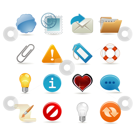 Sixteen universal icons stock vector clipart, Sixteen universal icons by Ika