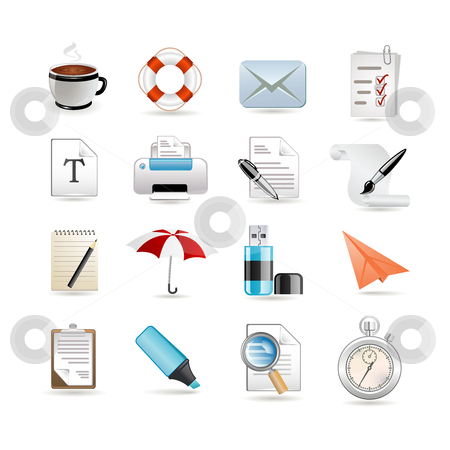 Universal set of web icons stock vector clipart, Universal set of web icons by Ika
