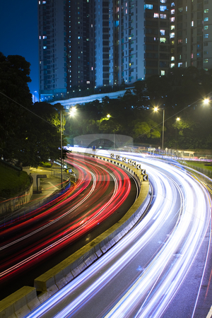 Traffic in city at night in hong kong stock photo, Traffic in city at night in hong kong. by Keng po Leung