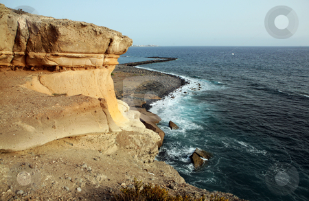 Tenerife beach stock photo, Rock over beach on Costa Adeje, Canary Islands by Tomas Hajek