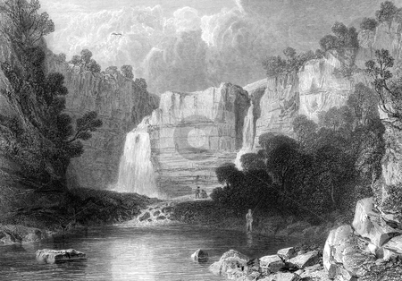 High Force waterfall stock photo, High Force waterfall on the River Tees, near Middleton-in-Teesdale, Teesdale, England. Engraved by William Miller in 1832, public domain image by virtue of age. by Martin Crowdy
