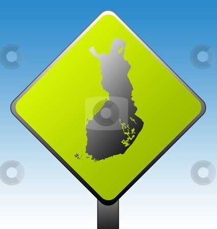 Finland road sign stock photo, Black silhouetted map of Finland on green diamond shaped road sign with gradient blue sky background. by Martin Crowdy