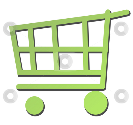 Eco green shopping trolley or cart stock photo, Eco green shopping trolley or cart isolated on white background. by Martin Crowdy