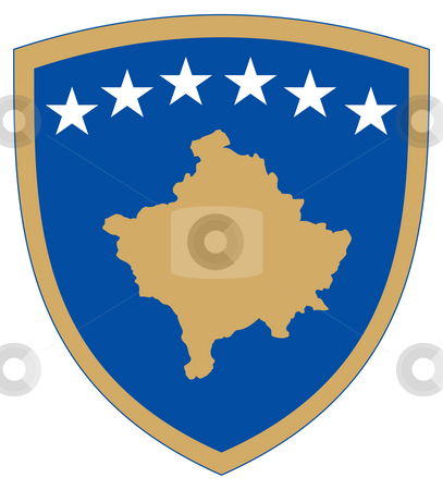 Kosovo Coat of Arms stock photo, Kosovo coat of arms, seal or national emblem, isolated on white background. by Martin Crowdy
