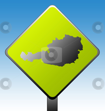 Austria road sign stock photo, Black silhouetted map of Austria on green diamond shaped road sign with gradient blue sky background. by Martin Crowdy