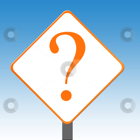 Question mark sign stock photo, Question mark sign on sign post with blue sky background. by Martin Crowdy