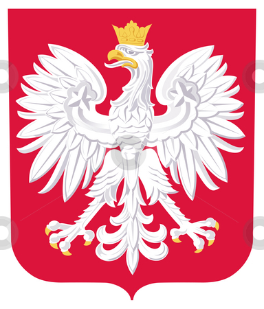 Poland Coat of Arms stock photo, Poland coat of arms, seal or national emblem, isolated on white background. by Martin Crowdy