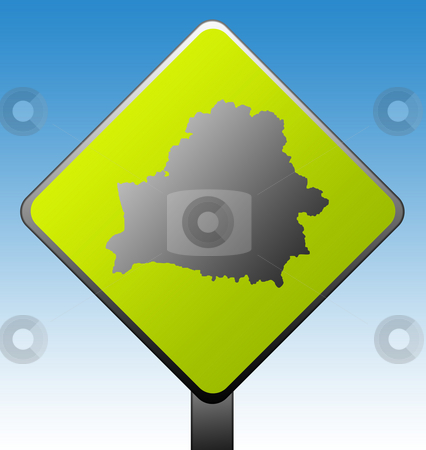 Belarus road sign stock photo, Black silhouetted map of Belarus on green diamond shaped road sign with gradient blue sky background. by Martin Crowdy