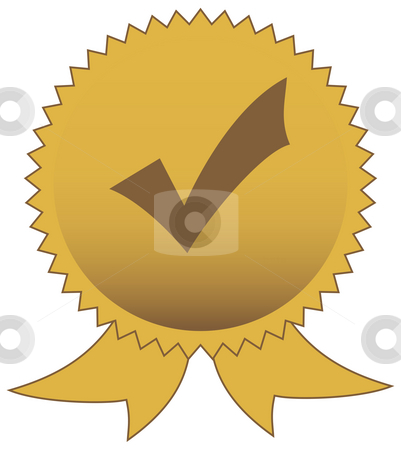 Chrck or tick mark seal stock photo, Check or tick mark gold seal isolated on white background with copy space. by Martin Crowdy