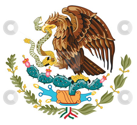 Mexico Coat of Arms stock photo, Mexico coat of arms, seal or national emblem, isolated on white background. by Martin Crowdy