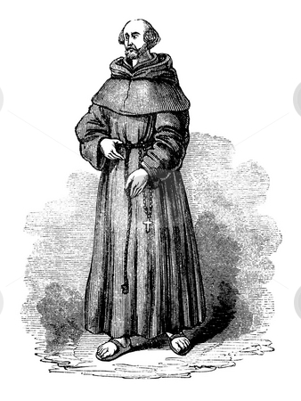 Franciscan Monk stock photo, Engraving of Franciscan monk or grey friar isolated on white background. Sourced from book by Charles Knight,
