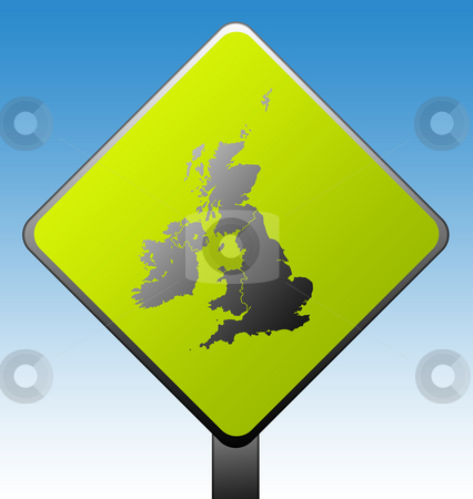 United Kingdom road sign stock photo, Black silhouetted map of United Kingdom on green diamond shaped road sign with gradient blue sky background. by Martin Crowdy