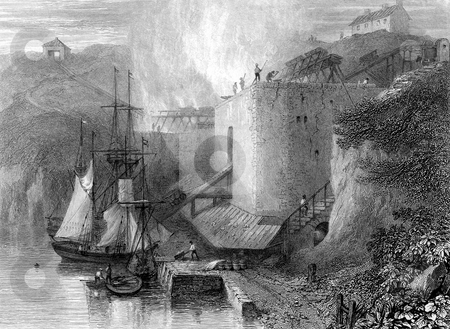 Industrial lime kilns stock photo, Industrial lime kilns on river Wear at Southwick, Durham, England. Boat being loaded in foreground. Engraved by William Miller in 1826, public domain image by virtue of age. by Martin Crowdy