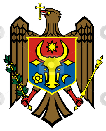 Moldova Coat of Arms stock photo, Moldova coat of arms, seal or national emblem, isolated on white background. by Martin Crowdy
