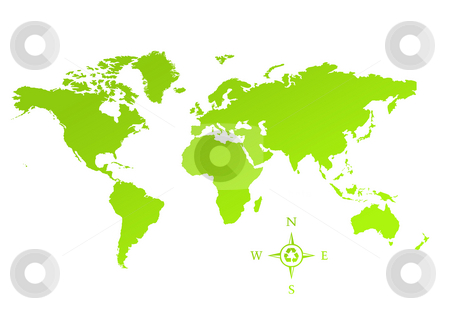 Eco green map of World stock photo, Eco green map of world, isolated on white backgroundw with compass and recyling symbol. by Martin Crowdy