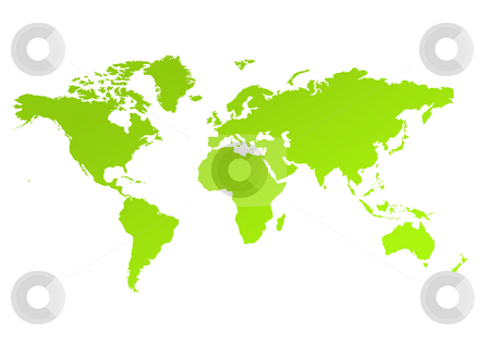 Eco green map of World stock photo, Eco green map of world, isolated on white background. by Martin Crowdy