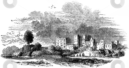 Kenilworth Castle stock photo, Engraving of 17th century Kenilworth castle in Warwickshire with white background, England. Sourced from 1845 book by Charles Knight,