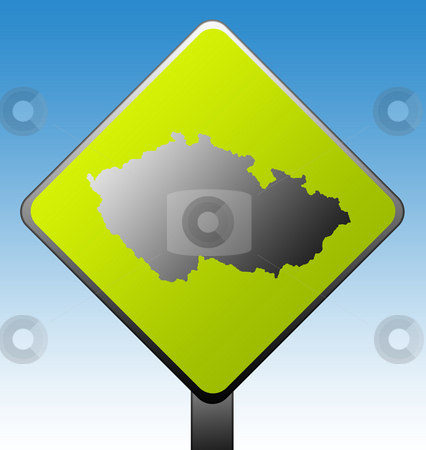 Czech Republic road sign stock photo, Black silhouetted map of Czech Republic on green diamond shaped road sign with gradient blue sky background. by Martin Crowdy