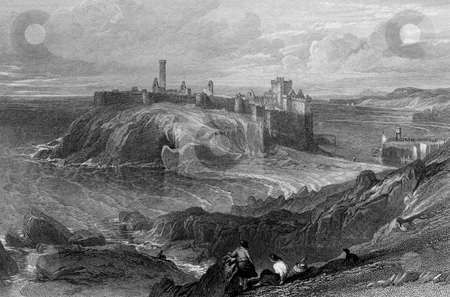 Peel Castle stock photo, Engraving of Peel Castle on Isle of Man. The castle stands on St Patrick's Isle which is connected to the town by causeway. Engraved by William Miller in 1845, public domain image by virtue of age. by Martin Crowdy